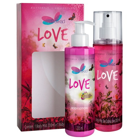 Kit Delikad Butterfly Collection Body Lotion e Body Mist Love