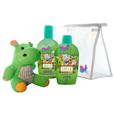Kit Delikad Kids Safari Colônia e Shampoo Hyppo Green